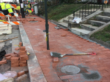 Brick sidewalk being installed from station 20+10 to 20+80