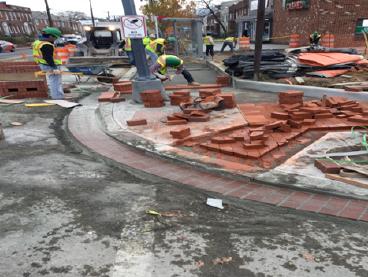 Brick Sidewalk Install Sta.35+40RT to Sta.36+00RT