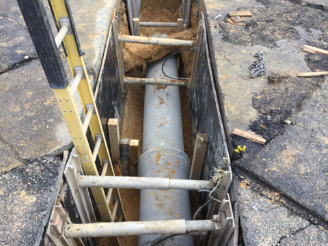 Installation of pipe 46+25RT to 46+46RT.