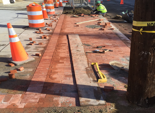 Installation Brick Sidewalk Sta.19+25LT to Sta.19+53LT