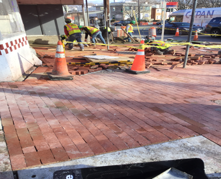 Brick Sidewalk Installation Sta.12+50LT to Sta.12+75LT