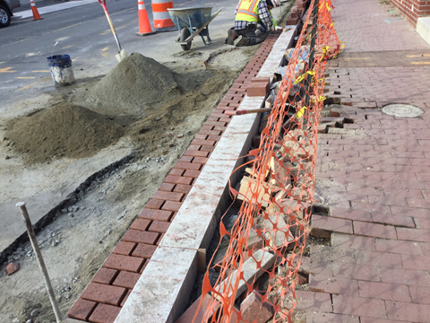 Installation of brick gutter from station 31+25LT to 31+80LT.