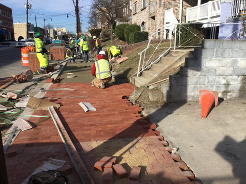 Beginning of placement for brick sidewalk on PCC base, station 32+59LT to 34+08LT