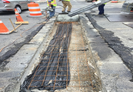 Utility cut prep for concrete pour