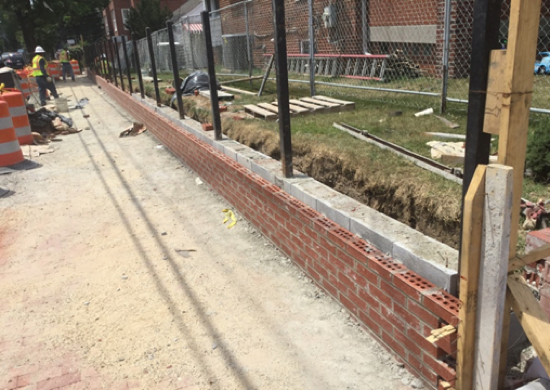 Brick Wall Installation At 9th ST & Kennedy ST