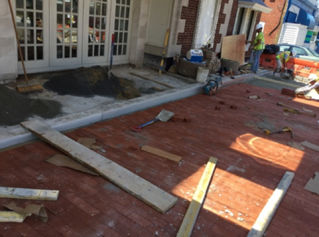 324 Kennedy ST Brick Sidewalk Installation on PCC Base