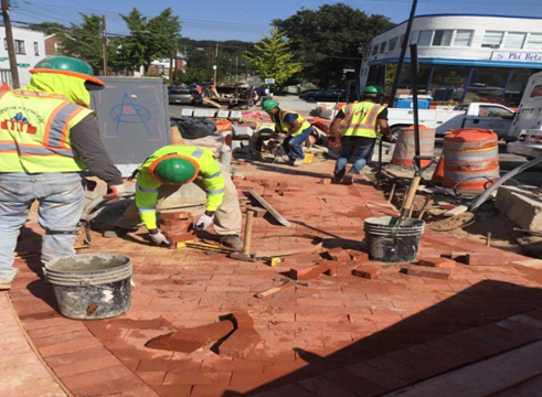 Brick Sidewalk Installation Sta.121+50RT to Sta.121+75RT