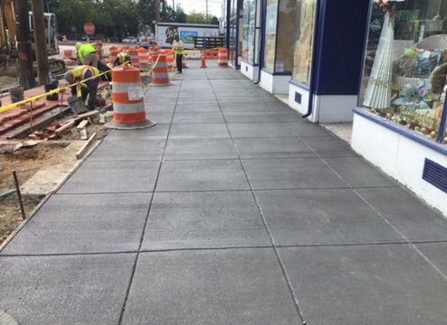 Pour 4 Inch PCC Sidewalk from Sta.53+50LT to Sta.54+50LT