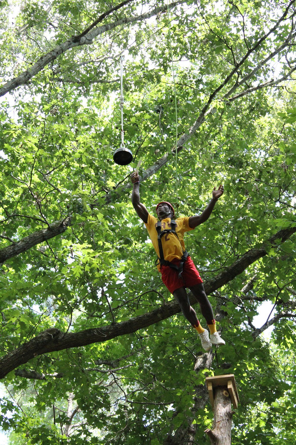The Tree Hugger 'Leap of Faith' is a 32ft pole you must climb and
