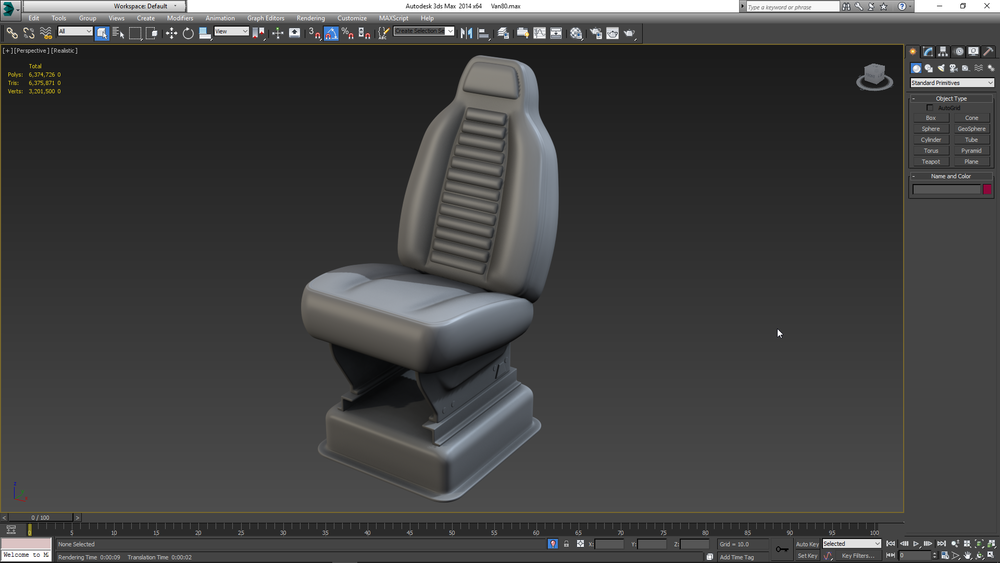 Driver seat highpoly model for baking.
