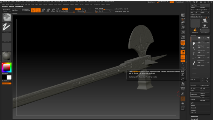 Halberd sculpt process