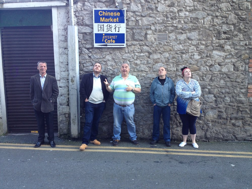 Martin, Luke, Robbie and Gemma basking in the knowledge of local historian Sean Collins (centre)