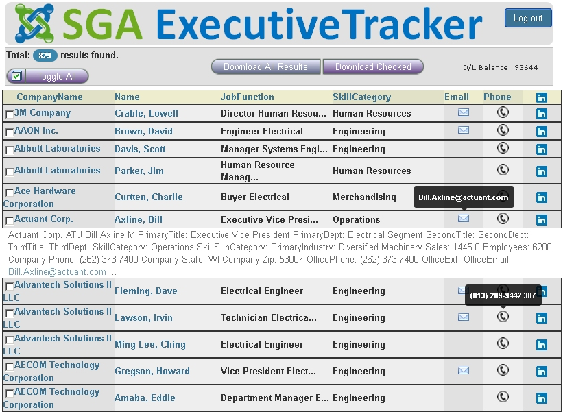 View SGA ExecutiveTracker Live- Choose Who You Wish To Connect With