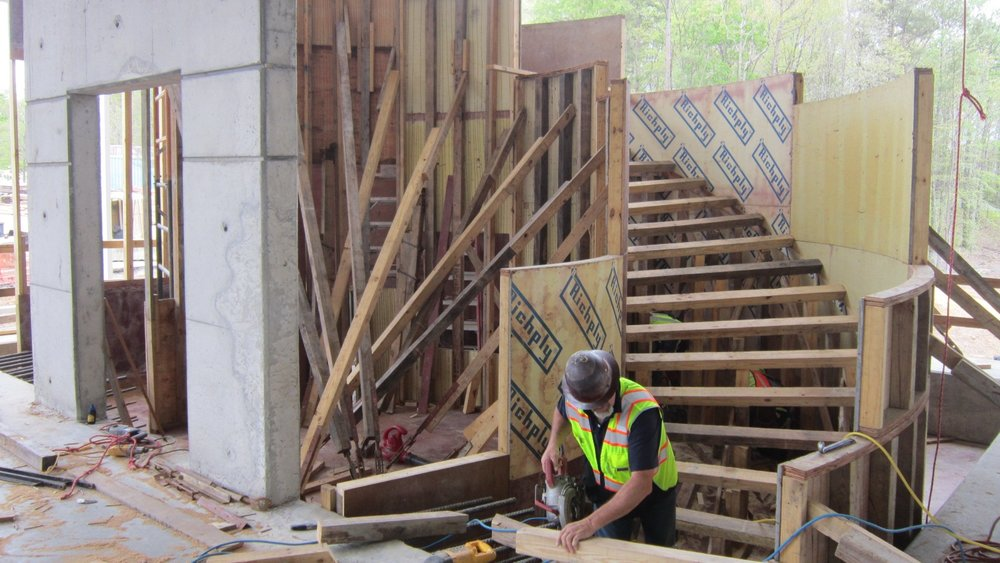 Forms and form support being constructed.