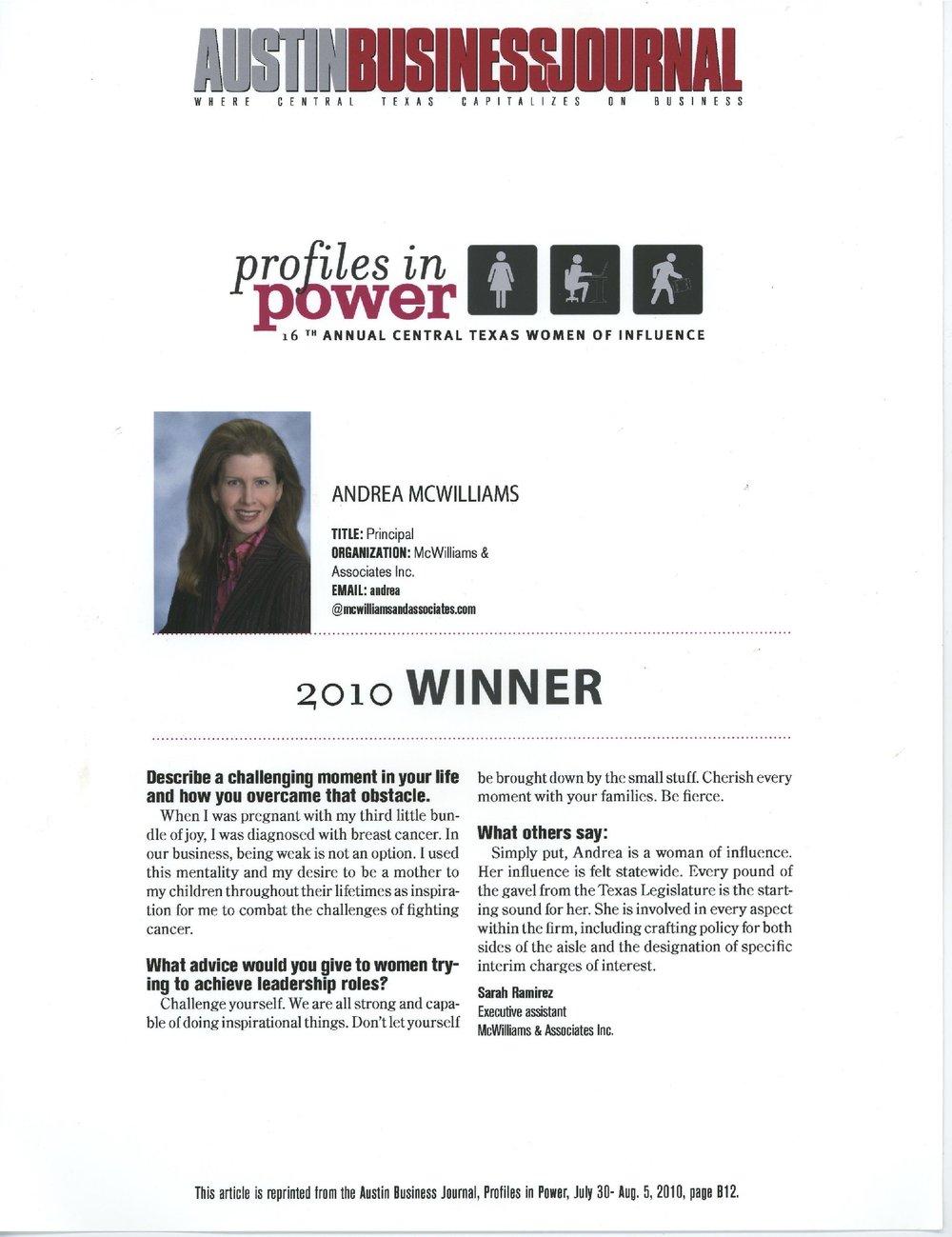Profiles in Power: 2010 Winner
