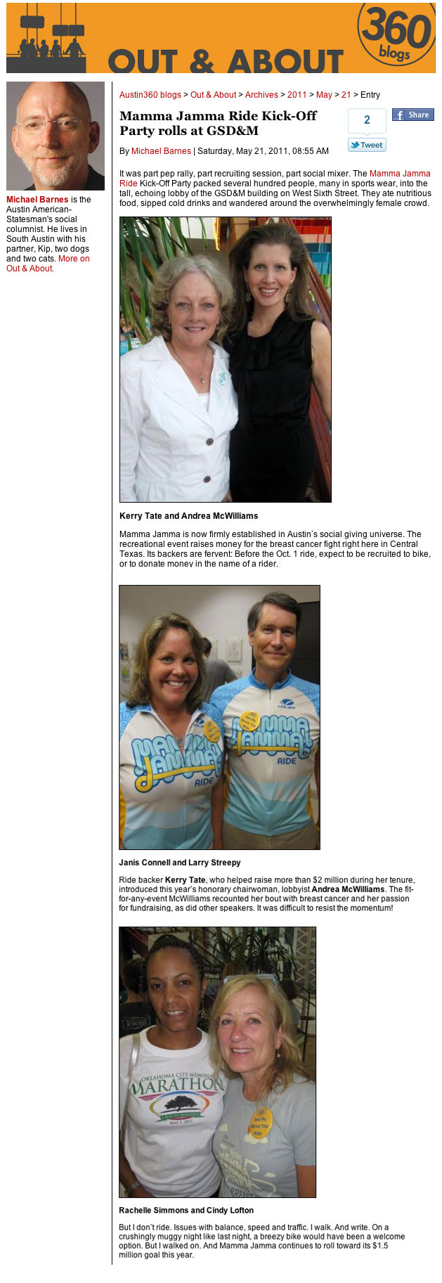 Mamma Jamma Ride to Leave Breast Cancer Behind