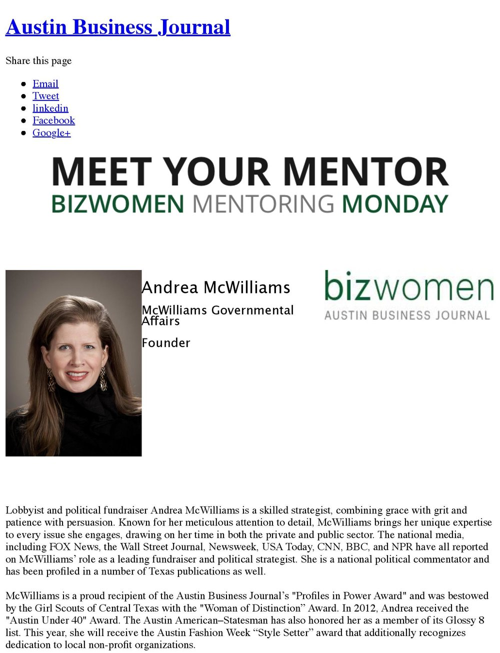 Meet Your Mentor - Austin Business Journal