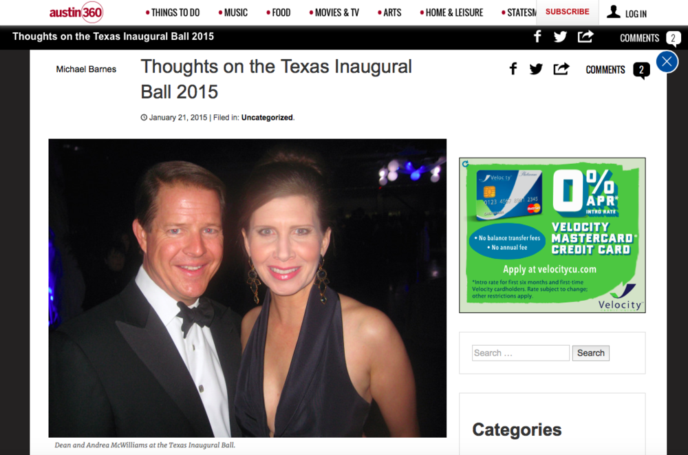 Dean and Andrea McWilliams at the Texas Inaugural Ball
