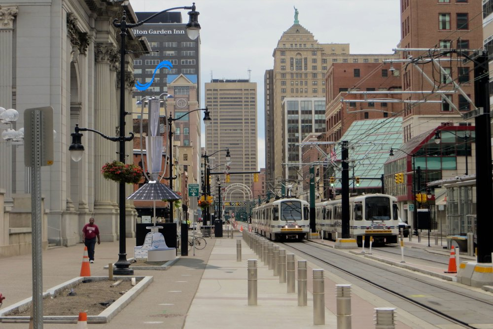 2-Buffalo DownTown and Light Rail.JPG