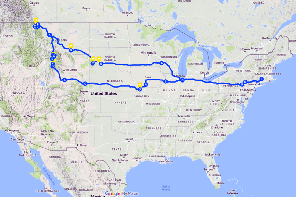 My recent road trip to Montana and back. (Courtesy of Google Maps.)