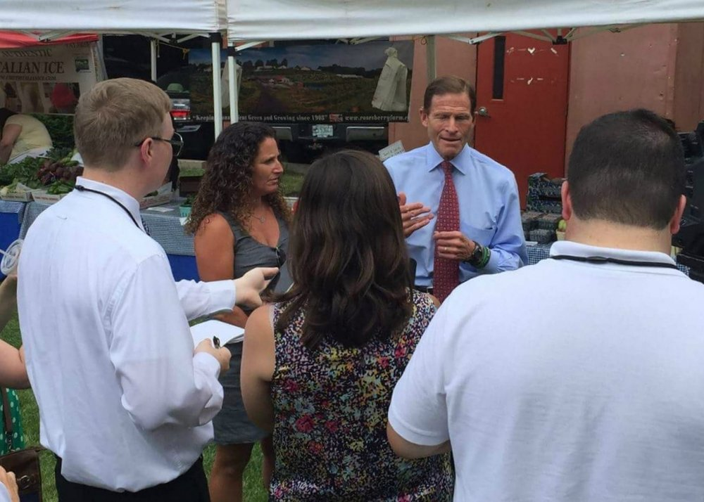 Interviewing U.S. Sen. Richard Blumenthal, D-Conn., during a press conference in Hartford, Conn. Photo courtesy of Fairfield, Conn. food policy advocate Tara Cook-Littman.