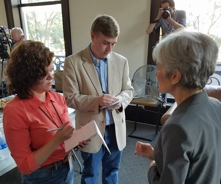 Interviewing Green Party presidential candidate Jill Stein in Stamford, Conn. Photo courtesy of Stamford environmental activist David Michel.