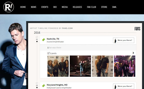 Rob Thomas, of Matchbox Twenty fame, used our embedded timeline on his site to allow his fans to explore and reconnect to their past shows.