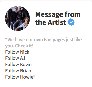 Verified artist The Backstreet Boys highlighting the personal fan pages of all the members of the band.