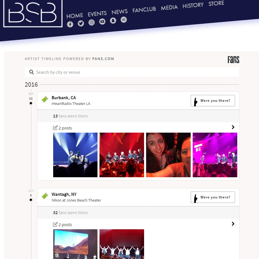 Complete and interactive show history at Backstreet Boys website.