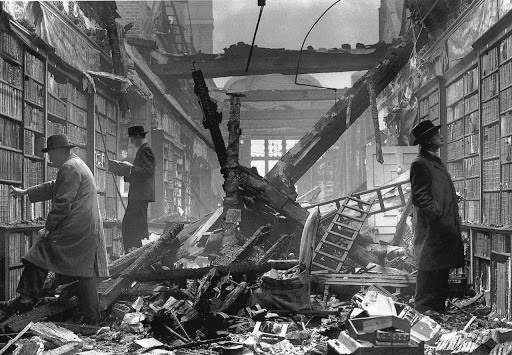 Holland House Library after the Blitz in 1940. From Manguel's A History of Reading.