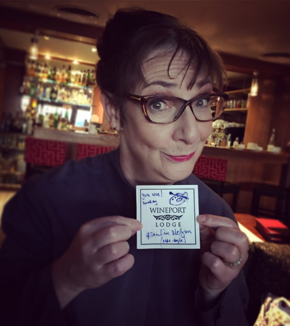 Pauline McLynn fashioned me a winner's certificate from a beer mat :)