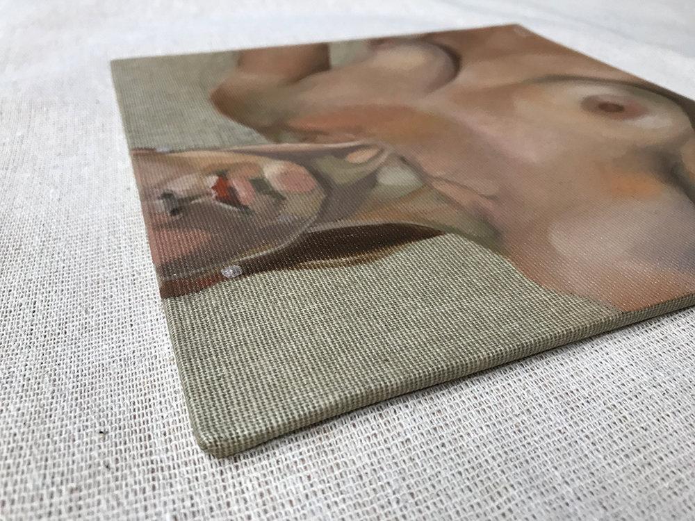Oils on 20x20cm natural canvas board. Model: Gabriella.