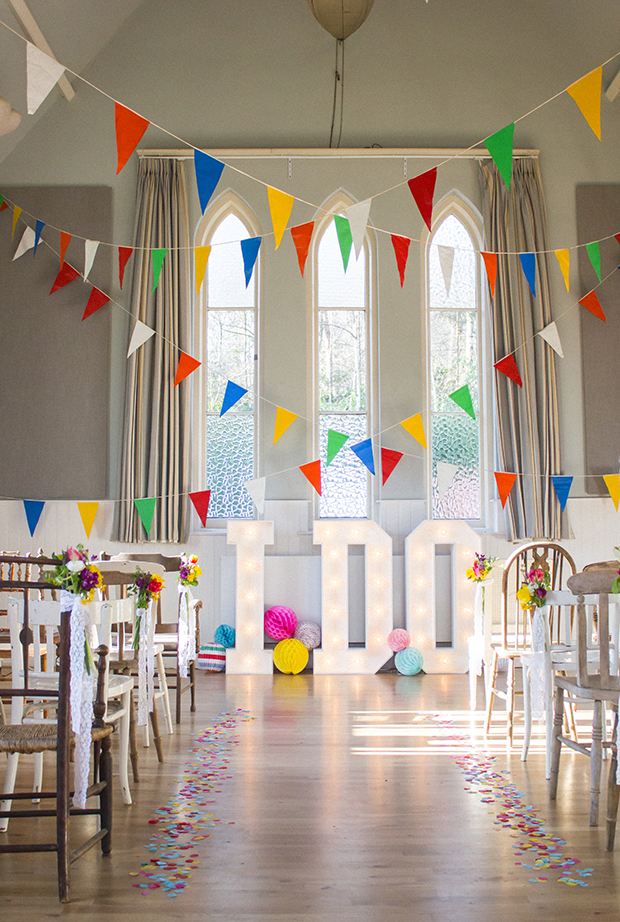 Village Hall Wedding-Bright Spring Colours-Bunting and Confetti Aisle with Light-Up I DO Letters