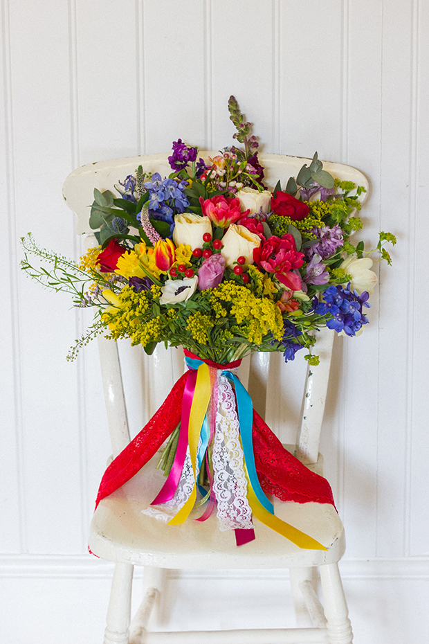 A Bright and Bold Spring Bouquet-Village Hall Wedding-Tied with Bright Ribbons and on Vintage Chair