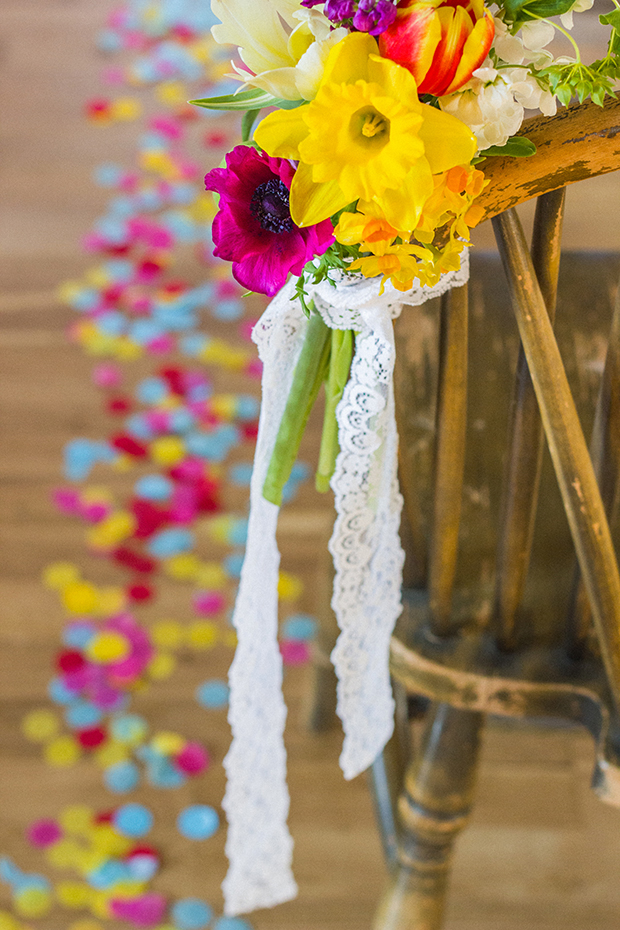 Vintage Amy Wedding Styling-Bright Spring Wedding-Vintage Chairs and Confetti Aisle-Pew Ends