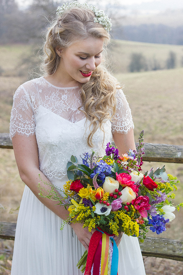 Vintage Amy Wedding Styling-Spring Wedding-Vintage Bride with Bright Bouquet and Bright Red Lips-Catherine Deane Gown