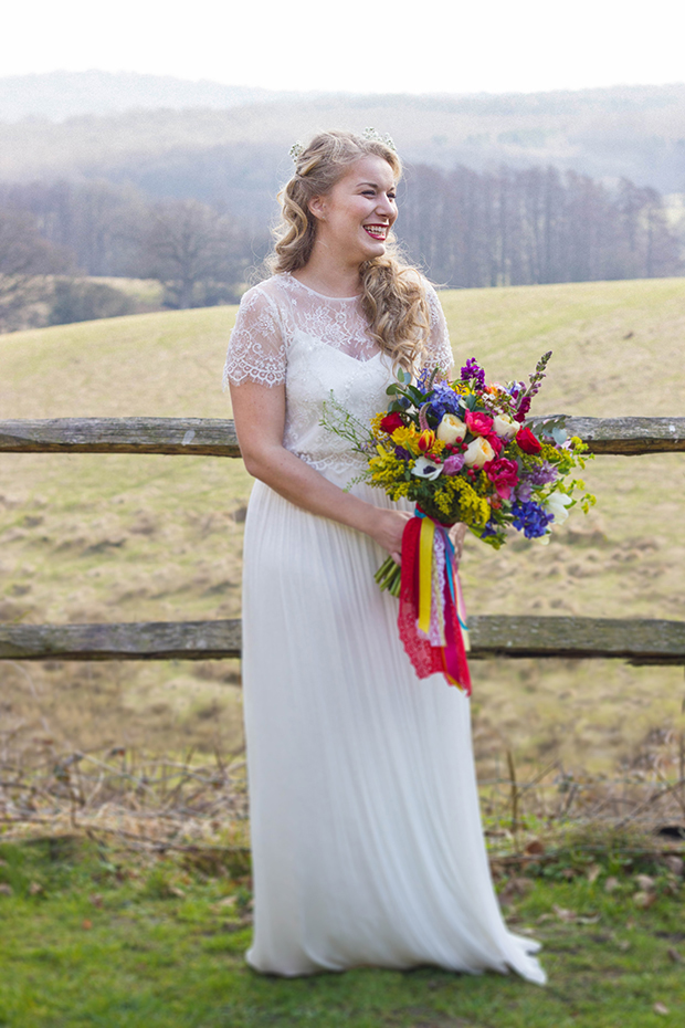 Vintage Amy Wedding Styling-Spring Bride with Bright Bouquet and Vintage Ribbon-Catherine Deane Gown and 1950s make-up