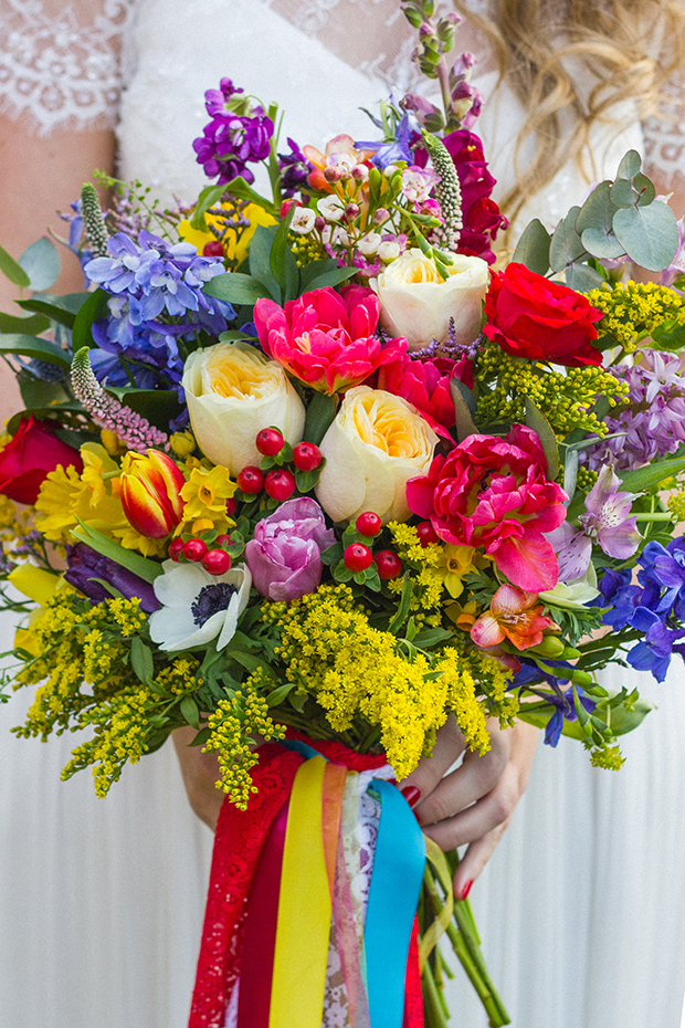 Vintage Amy Wedding Styling-Bright and Bold Spring Bouquet-Tied with Vintage Ribbons-Village Hall Wedding