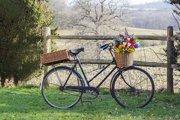 Vintage Amy Wedding Styling-Village Hall Spring Wedding-Eridge Hall-Vintage Bike with Flowers