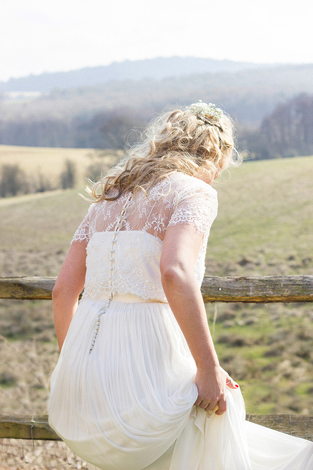 Vintage Amy Wedding Styling-Vintage Bride-Catherine Deane Gown and Loose Curled Hair with Gypsophila