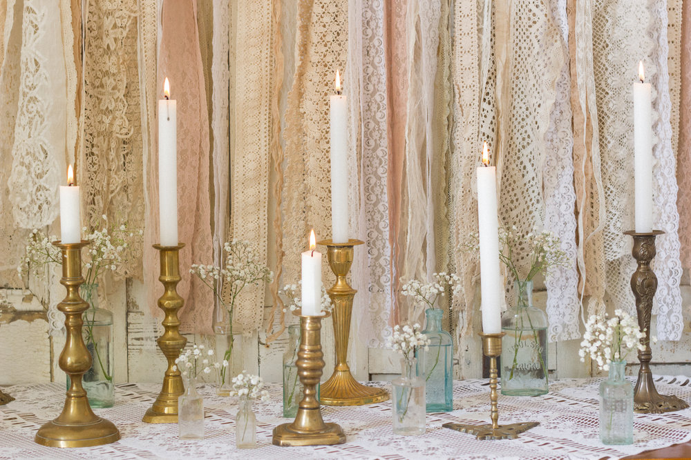 Vintage Amy Wedding Styling-Props To Hire-Vintage Brass Candlesticks and Vintage Bottles-Wedding Styling Kent