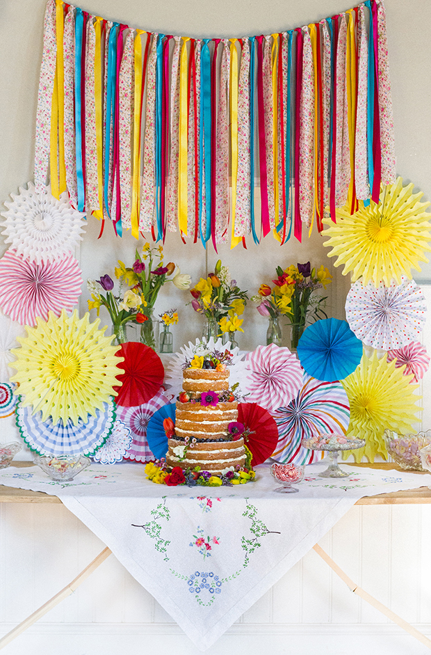 Vintage Amy Wedding Styling-Bright Village Hall Shoot-Vintage Props and Crafted Cake Table