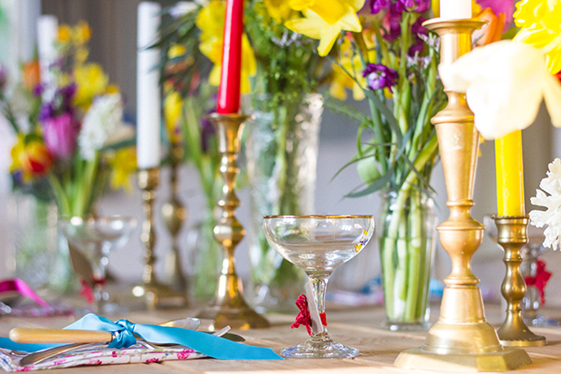 Vintage Amy Wedding Styling-Village Hall Spring Wedding Shoot-Brass Candlesticks and Babycham Glasses as Wedding Places-Bright Flowers