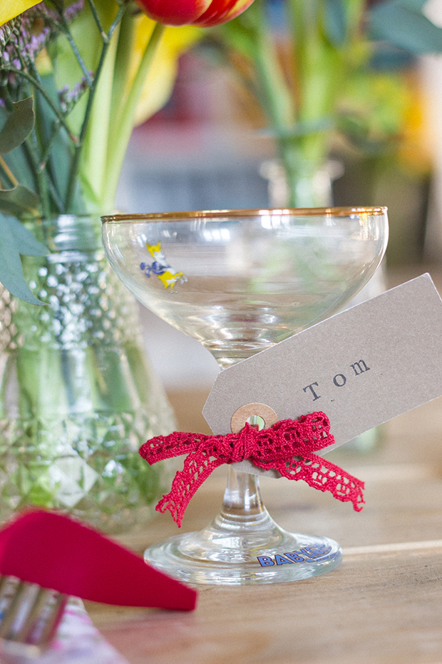 Vintage Amy Wedding Styling-Village Hall Wedding Shoot-Spring Flowers-Babycham Glasses