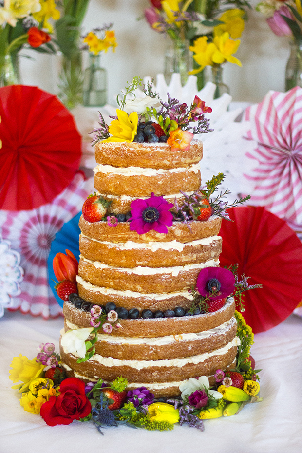 Vintage Amy Wedding Styling-Village Hall Spring Wedding Shoot-Naked Cake with Spring Flowers
