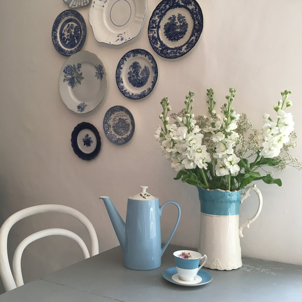 Vintage Amy Wedding Styling-My Blue & White Vintage Kitchen -Vintage China for Hire