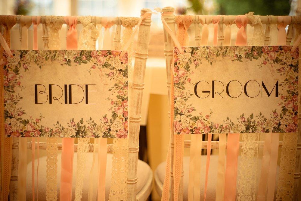 Vintage Amy Wedding Styling-My Vintage Wedding-Vintage Bride & Groom Chair Signs