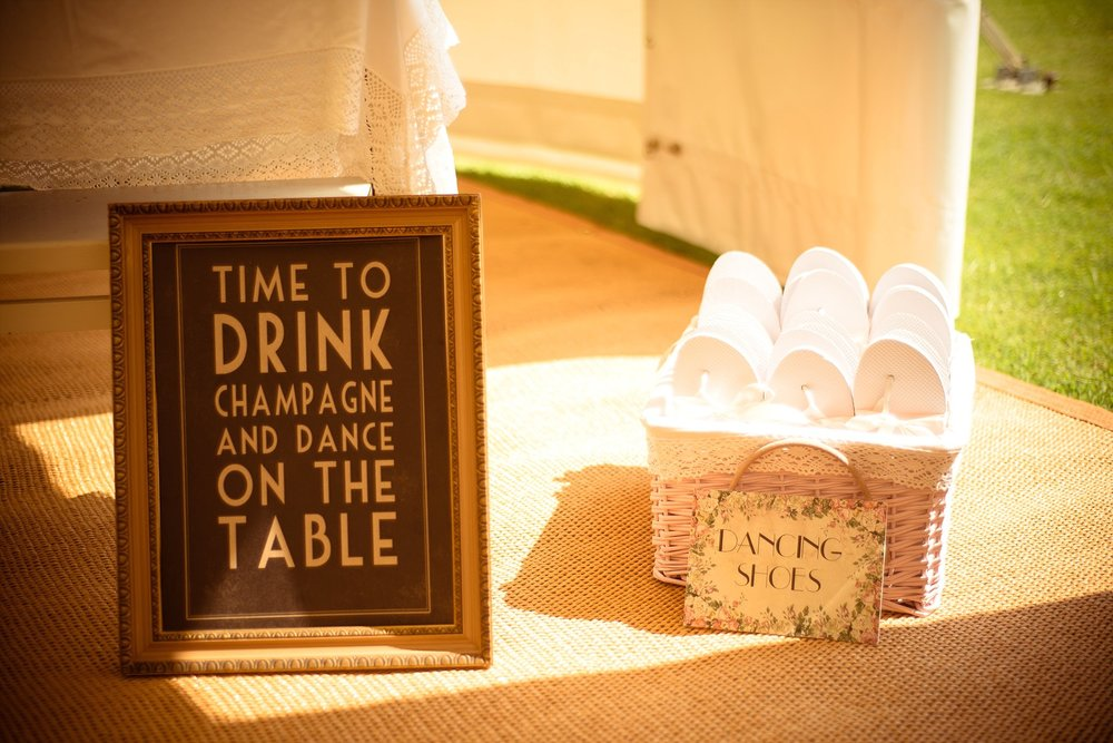 Vintage Amy Wedding Styling-My Vintage Wedding-Vintage Champagne Sign and Dancing Shoes