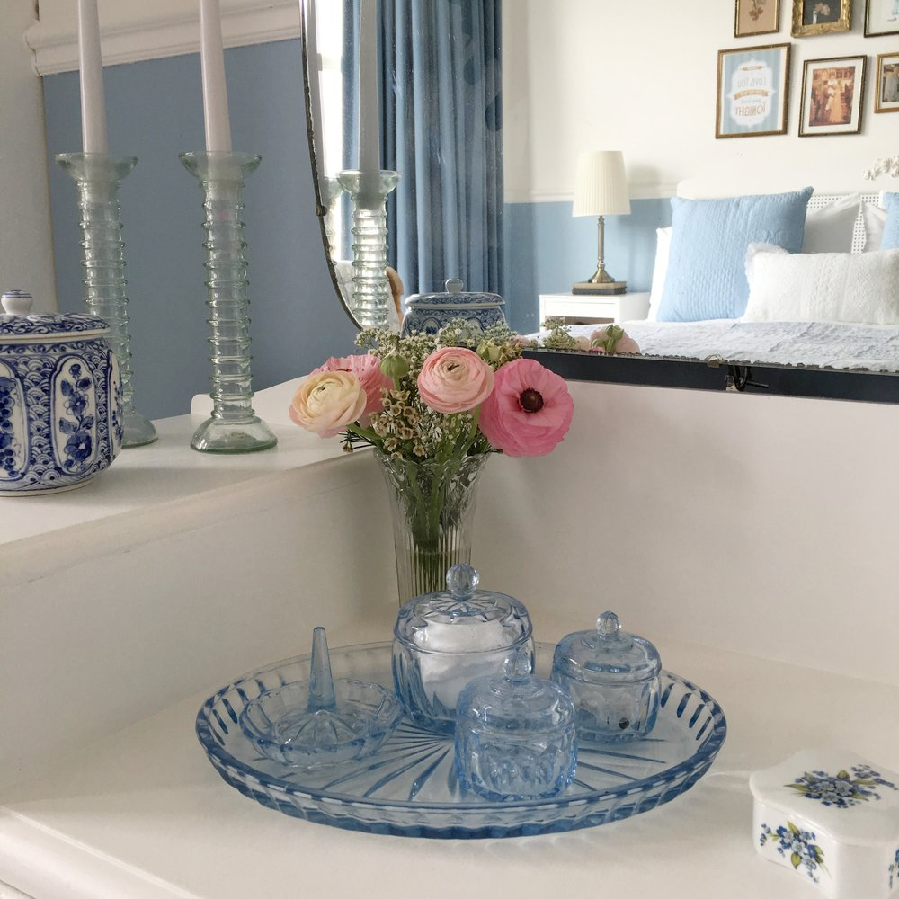 This vintage blue dressing table set is another one of my favourite boot sale finds. It works perfectly on my vintage dressing table.
