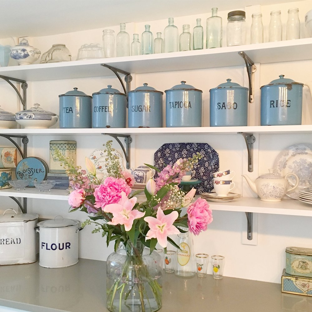 I love displaying my vintage boot sale finds on my kitchen shelves. China, tins and quirky containers can be found in abunsance.